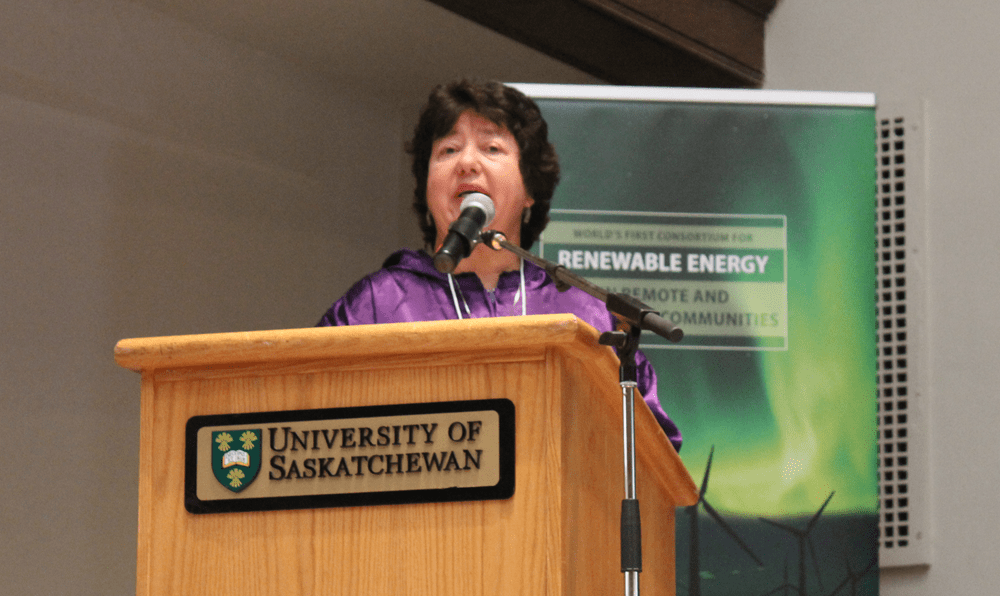"""AVEC CEO Meera Kohler presenting at the """"Renewable Energy in Remote and Indigenous Communities"""" symposium at the University of Saskatchewan, September 5, 2017"""