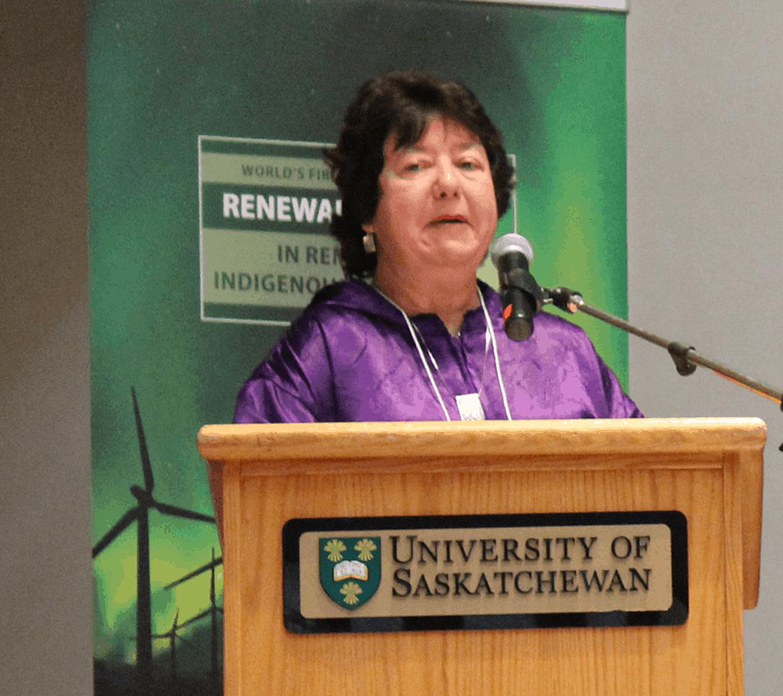 Meera Kohler, CEO AVEC speaking in Saskatoon in 2017. Photo: Aasa Marshall
