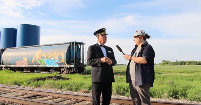 Making new friends on the Battle River Railway